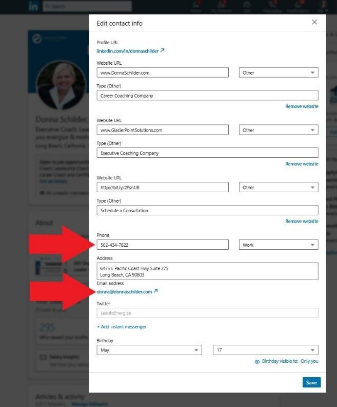 Edit contact info